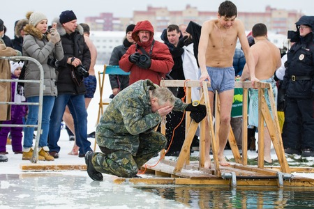 KAZAN, RUSSIA - JANUARY 19, 2017: Jesus Christs baptism holiday on kazanka river. Traditional winter bathing in center of city