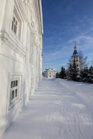 Kazan, Russia, 9 february 2017, courtyard inside Zilant monastery - oldest orthodox building