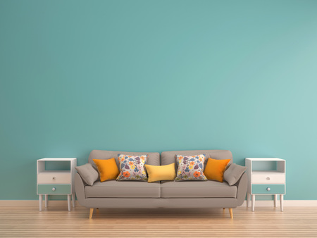 Photo pour green mint wall with sofa & sideboard on wood floor-interior - image libre de droit