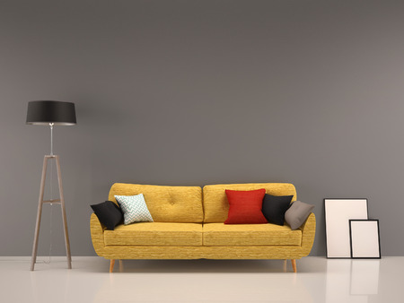 Photo pour living room gray wall with yellow sofa-interior background - image libre de droit
