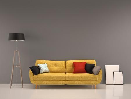 Foto de living room gray wall with yellow sofa-interior background - Imagen libre de derechos