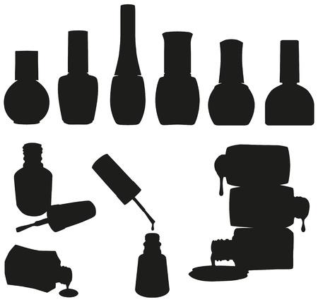 Set of 10 vector nail polish bottles silhouettes