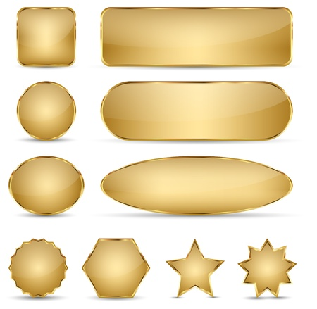 Set of 10 elegant golden buttons with different shapes