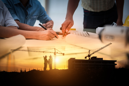 Photo pour Civil Engineer Jobs, Double exposure of Project Management Team and Construction Site with tower crane background, Day and Night shift on employees job concept. - image libre de droit