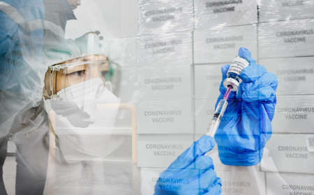 Foto de Delivering coronavirus Covid-19 vaccine concept. Double exposure image of transportation of vaccine and female doctor hands and holds  injection syringe vaccine for population. - Imagen libre de derechos