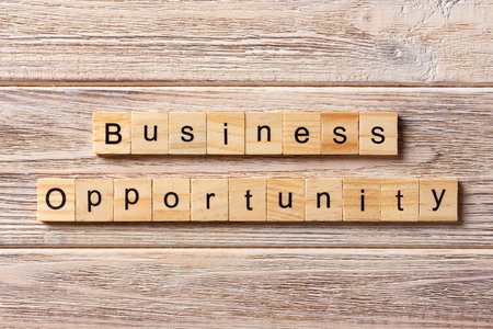 Business opportunity word written on wood block. Business opportunity text on table, concept.