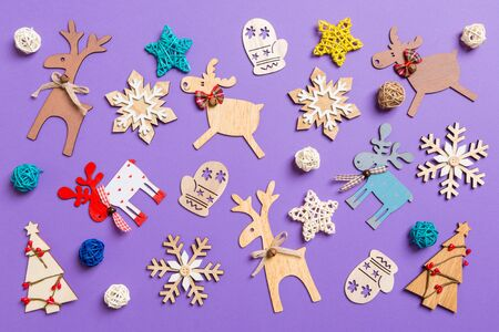 Photo for Festive decorations and toys on purple background. Merry Christmas concept. - Royalty Free Image