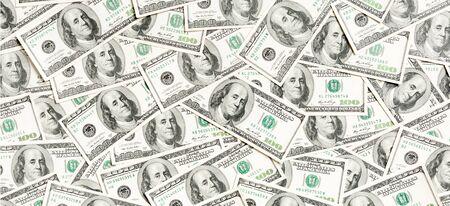 Photo pour Top view of American money background. Pile of dollar cash. Paper banknotes concept. - image libre de droit