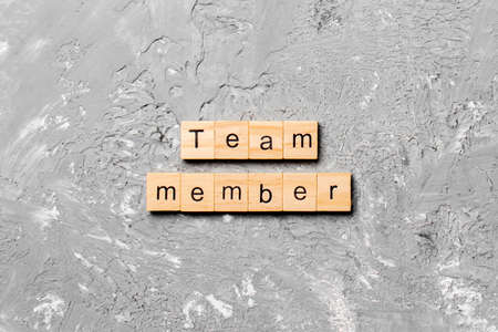 Team member word written on wood block. Team member text on table, concept.