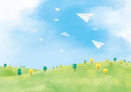 Illustration pour Grassland background material - image libre de droit