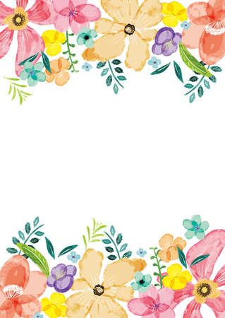 Illustration pour Frame on background of vector image of watercolor flowers - image libre de droit
