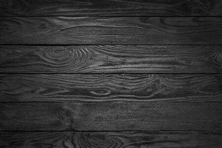 Photo pour Black Wooden Texture. Black Plank Floor Background - image libre de droit