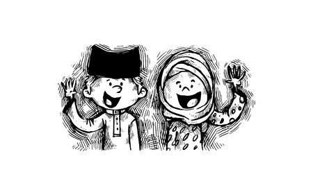 Illustration pour Cute cheerful Muslim characters - image libre de droit