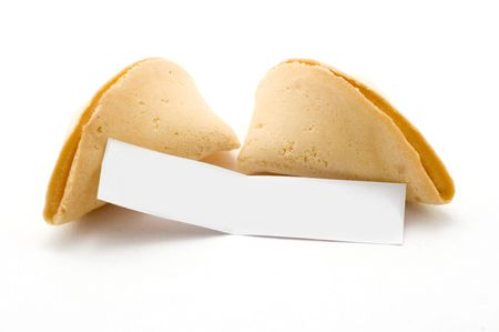 Open fortune cookie with blank message white background