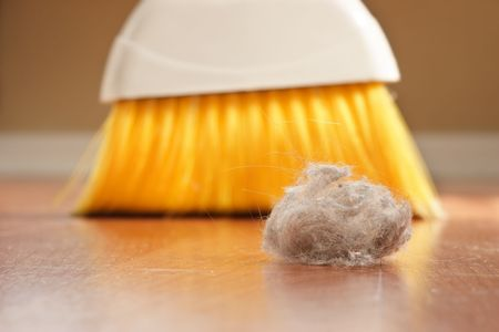 A large clump of dust being swept up with a broom