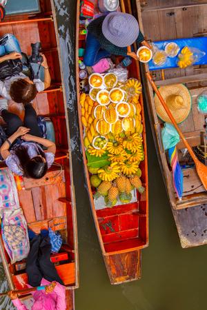 Top view Damnoen Saduak floating market in Ratchaburi near Bangkok, Thailand
