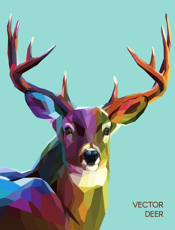 Illustrazione per Colorful deer illustration.  Background with wild animal. Low poly deer with horns. - Immagini Royalty Free
