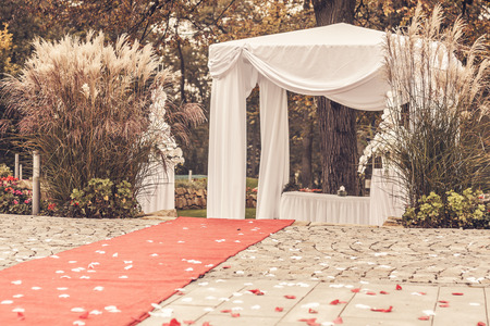 path to wedding ceremony marquee with petals, vintage picture