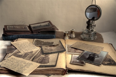 Closeup of old photos,letters and books.