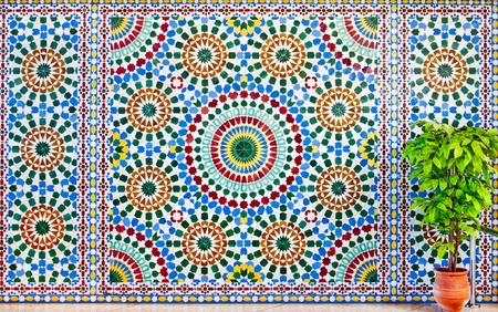 colorful moroccan mosaic wall as a background