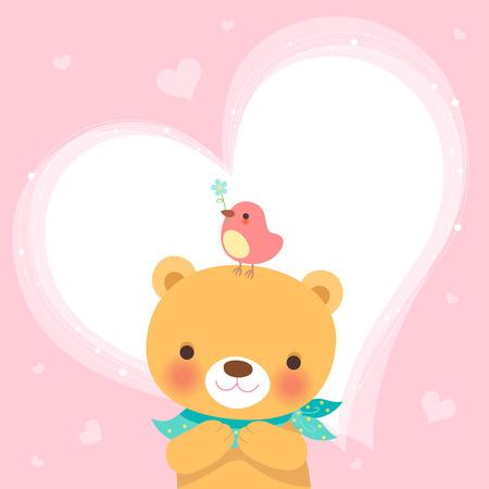 Cute bear and a little bird-heart pink background