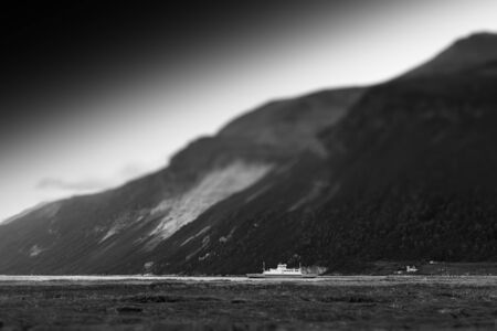 Norway black and white ship near mountains background hd