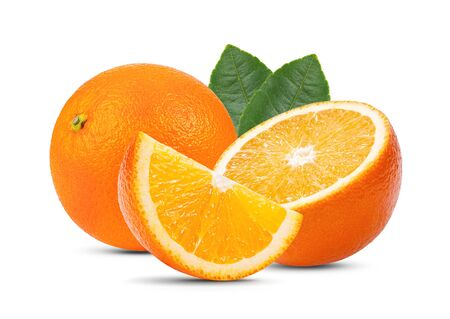 Photo for orange fruit with leaf isolated on white background . full depth of field - Royalty Free Image
