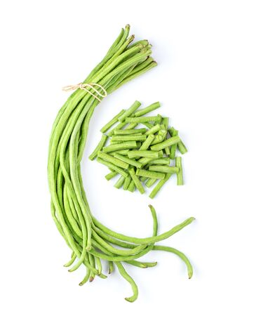 Foto de long beans isolated on white background. top view - Imagen libre de derechos