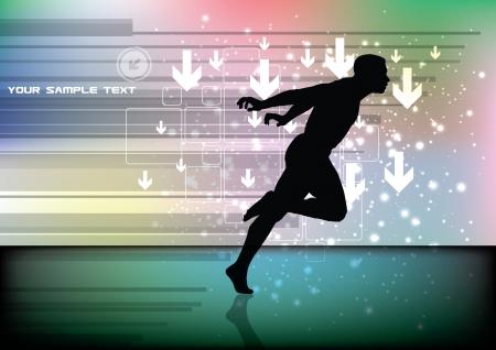 runner on tech background