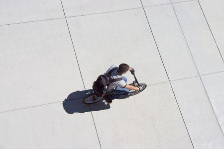 A birds eye view of a cyclist.