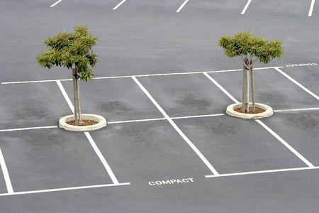 Empty parking spaces await commuters.