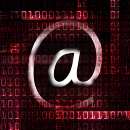 electronic mail and binary code abstract illustration