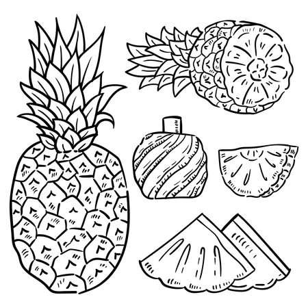 Ilustración de Hand drawn illustration of pineapple. - Imagen libre de derechos