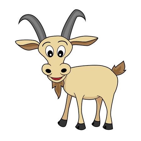 Foto de Cute Illustration of A Happy Looking cartoon goat  - Imagen libre de derechos