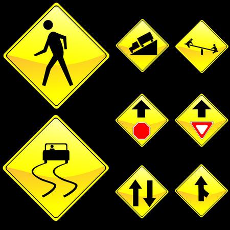 Eight Diamond Shape Yellow Road Signs Set 4