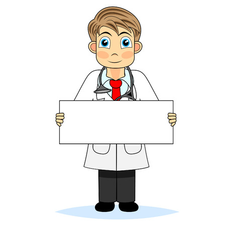 Cute boy doctor holding a blank sign