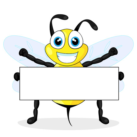 cute bee holding blank sign