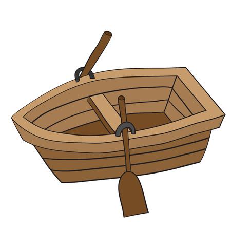 Illustration pour Illustration of cute cartoon doodle of wooden row boat. EPS8. - image libre de droit