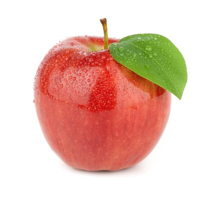 Ripe red apple on a white background