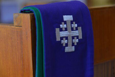 Photo pour Purple stole used for confessions, - image libre de droit