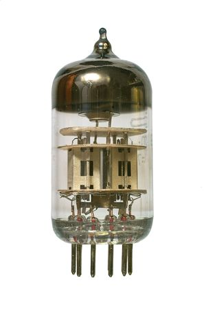 Glass vacuum radio tube. Isolated image on white background