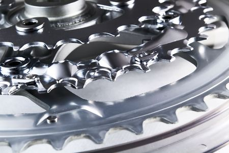 front bicycle chainrings set on white background