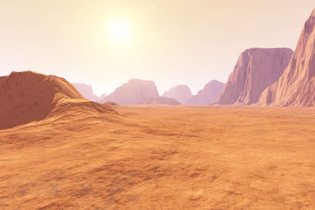 Virtual landscape on the Mars  3D rendered Illustration