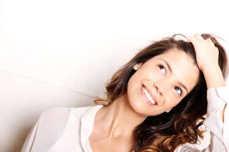 Foto de Portrait of a beautiful, laughing, hispanic Woman  - Imagen libre de derechos