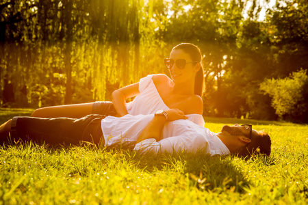 Photo for Nice young couple in the park - Royalty Free Image