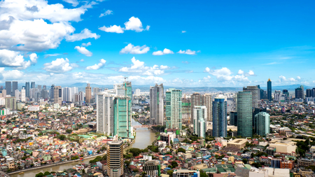 Photo for Skyline of Manila by the River Pasig - Royalty Free Image
