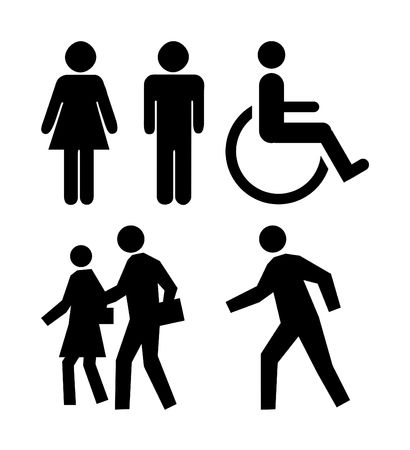 Silhouettes of people on commonly used icons.