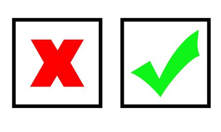 Green tick and red cross marks in two boxes, isolated over white background.