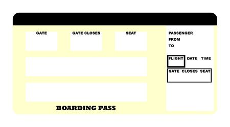 Illustration of blank airline boarding pass ticket, isolated on white background.