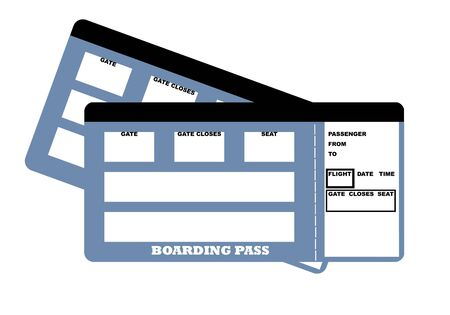 Illustration of two blank travel tickets, isolated on white background.